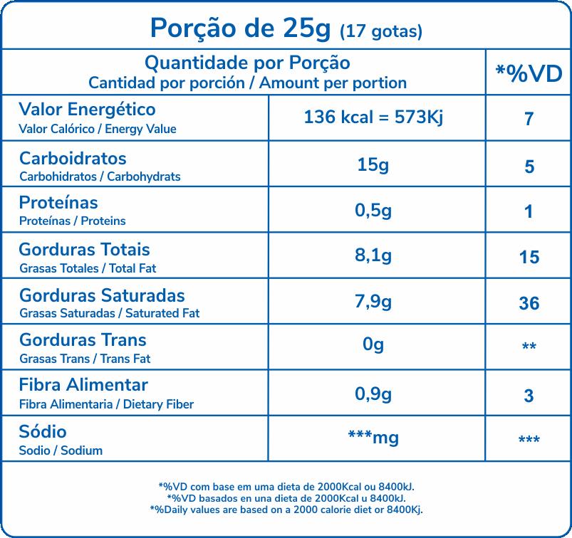 tabela nutricional Pura Mania Semi Amargo gotas 1,01Kg