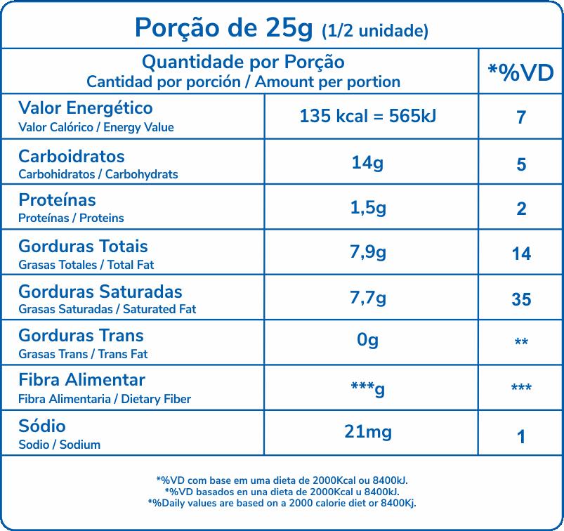 tabela nutricional Royale Meio a Meio 40g